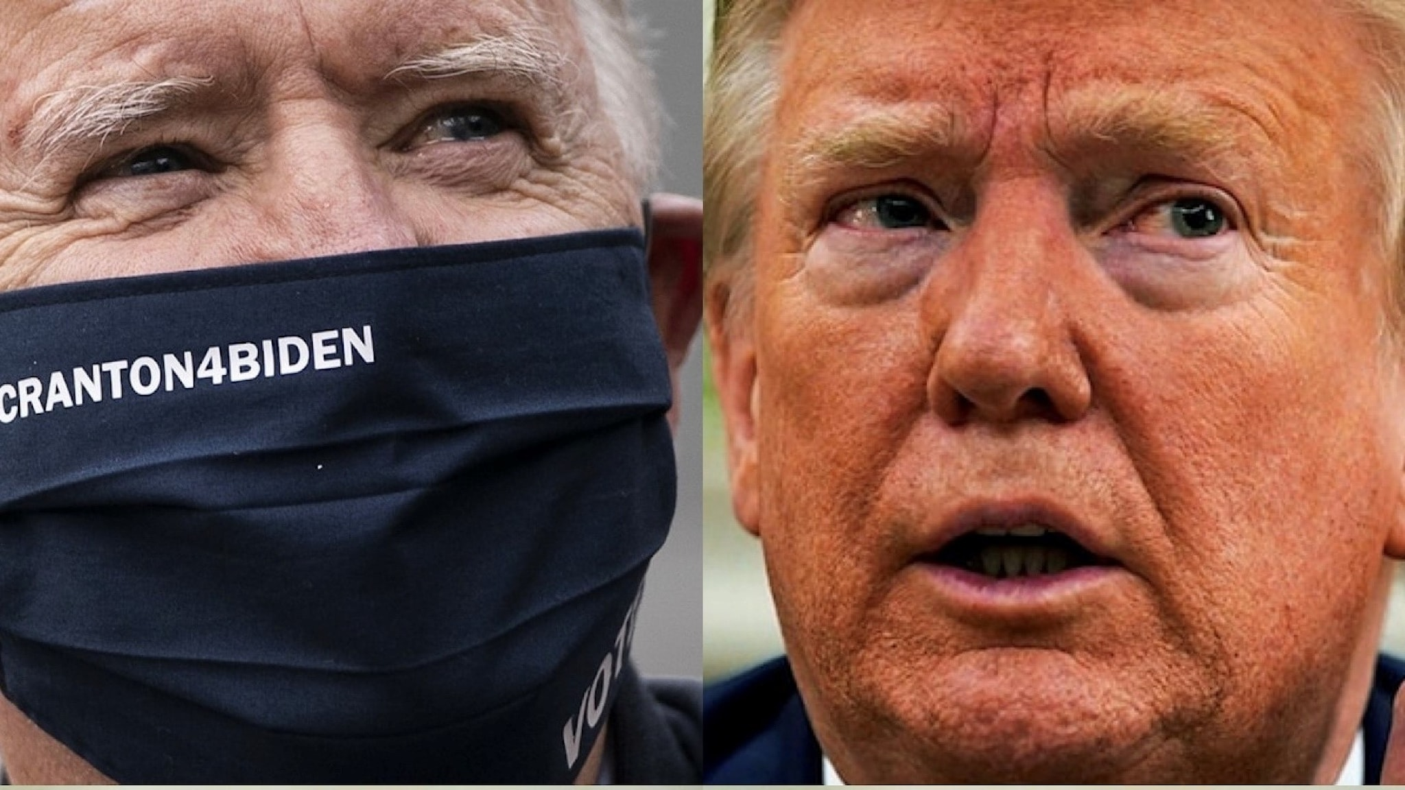 Joe Biden med munskydd och Donald Trump utan