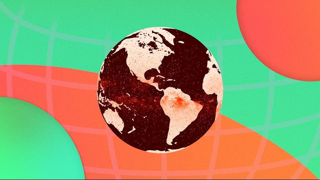 En jordglob med orange och grön