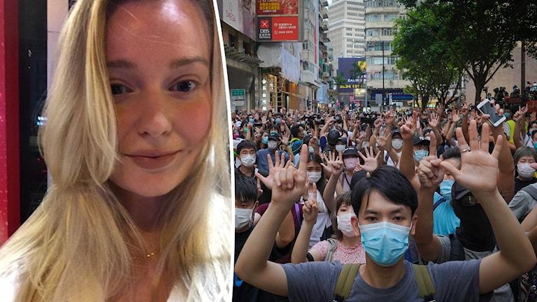 Amalia Brandt Hjertstedt bor i Hongkong och säger att hennes vänner är rädda för vad polisen skulle kunna göra.