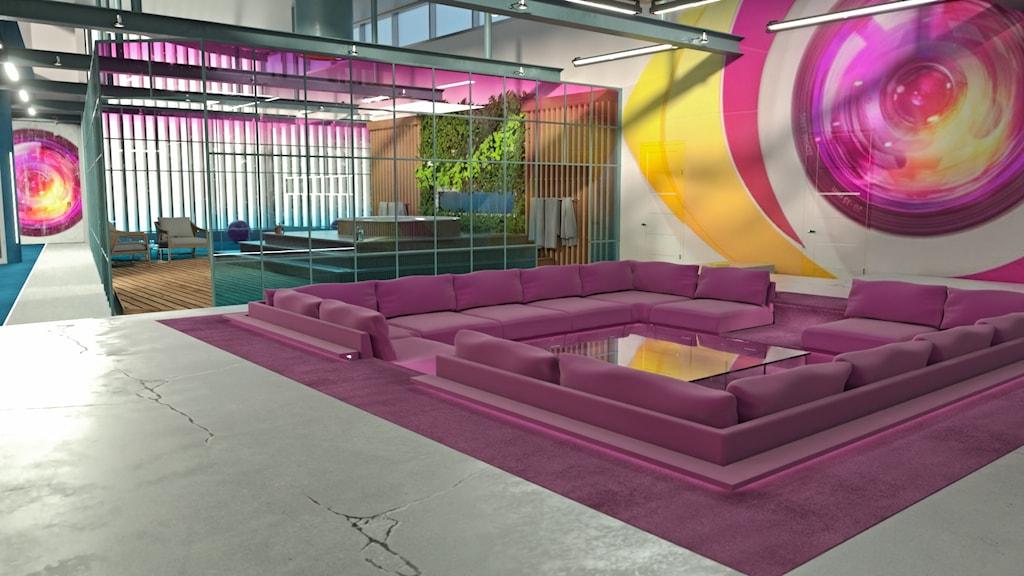Bild på vardagsrummet i Big Brother.