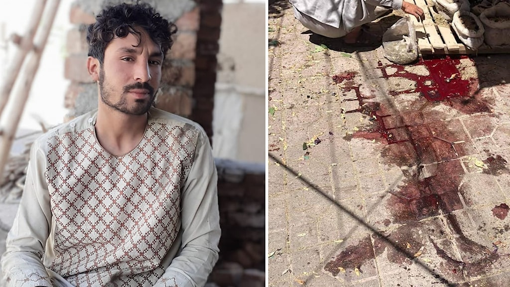 Till vänster, bild på Wakeel Rahmani. Till höger, blod på gatustenar i Wakeels område.
