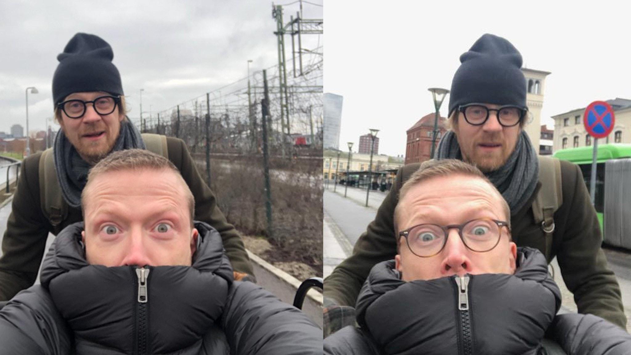 Komikerduon Anders och Måns ute på stan