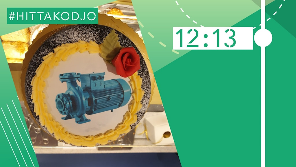 Bild på en tårta med en bild av en pump på.