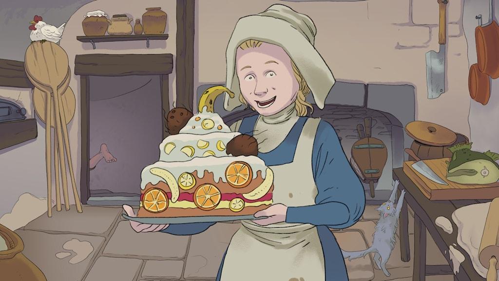 Cajsa med en tårta