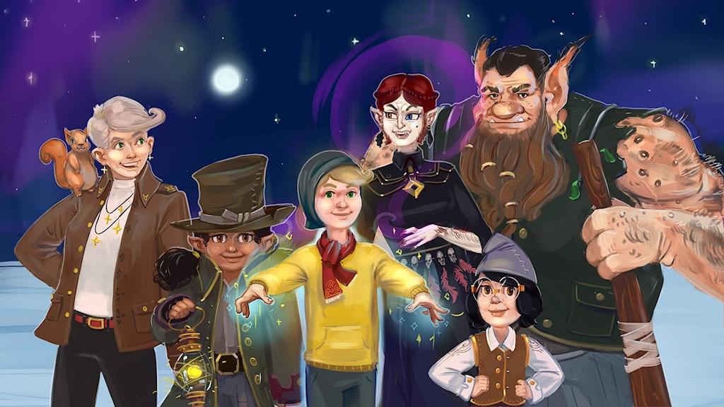 Programbild för Julkalendern 2017: Marvinter. Hugo, Farmor, Lumina, Maran, Jenny och Trollet Knot. Illustratör: Arslan Tursic