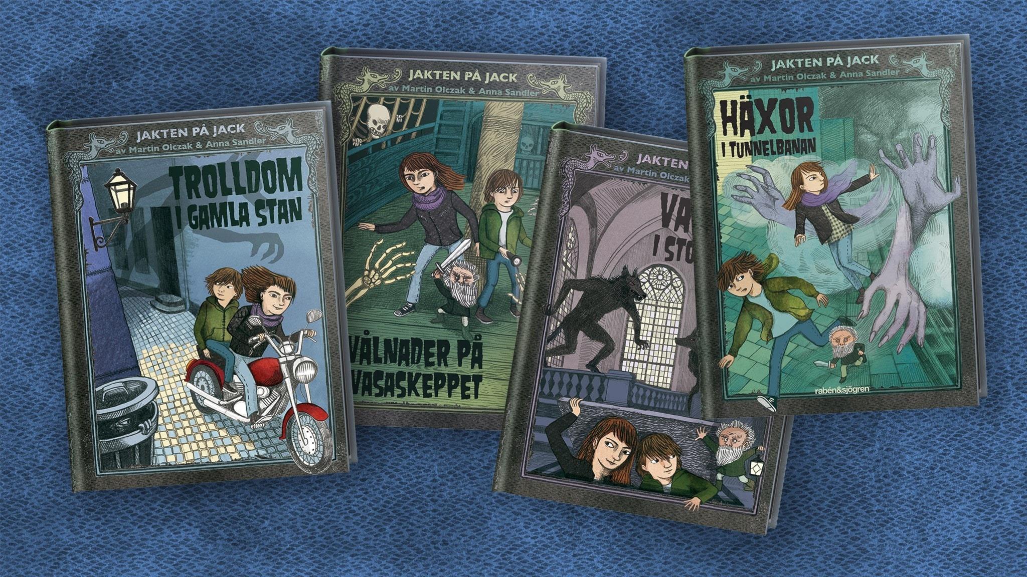 Fyra bokomslag från serien Jakten på Jack. Illustrationer: Anna Sandler