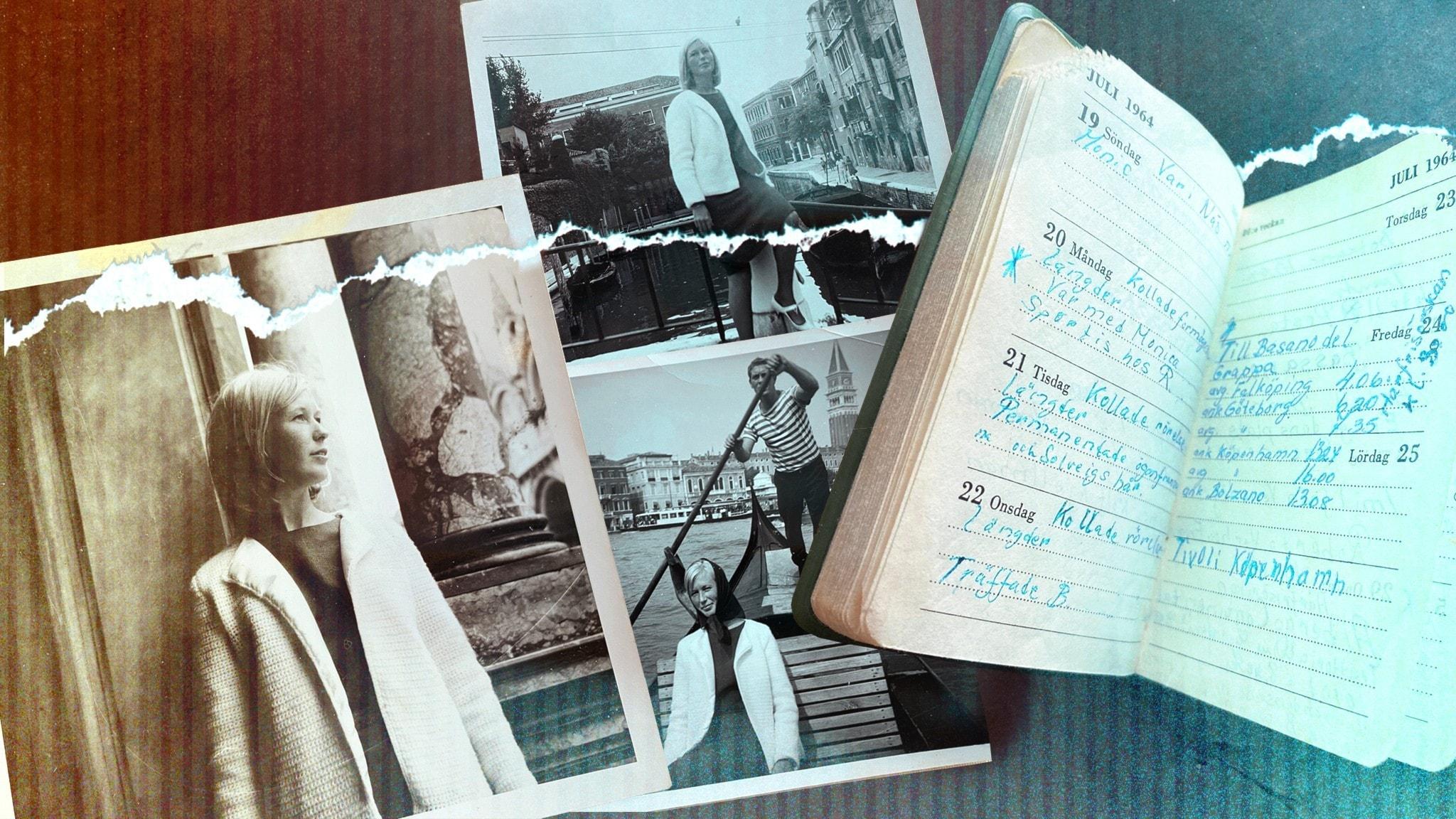 Bilder av Tittis mamma från sommaren 1964 och hennes uppslagna dagbok