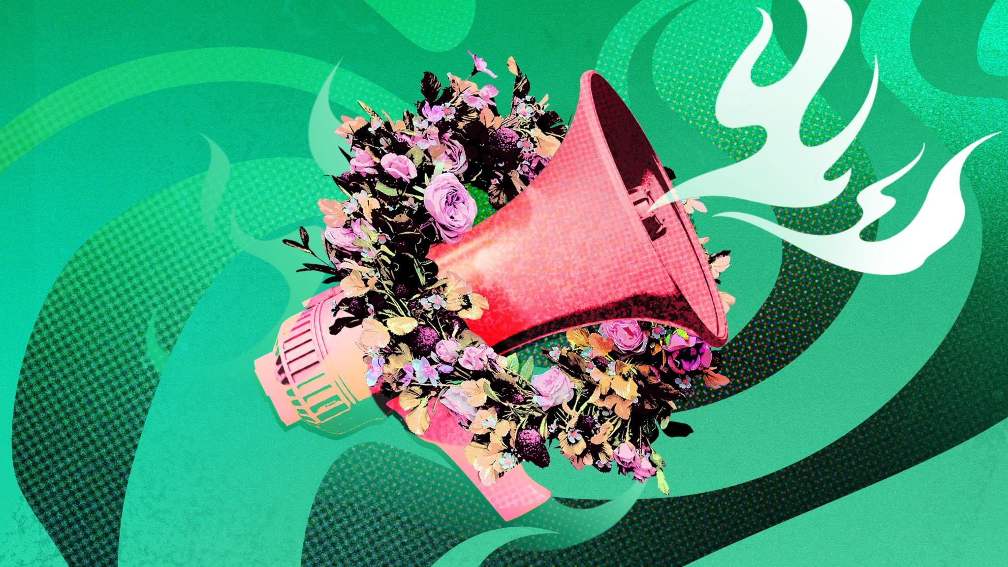 Hot Take Sommar, megafon med blomsterkrans