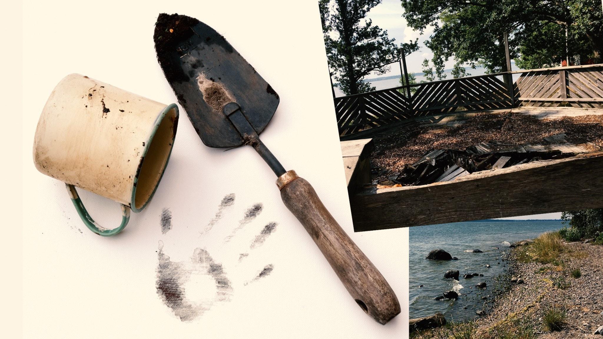 Del 7. En spade och en jordig kopp och bilder från ett nedlagt kollo på Esterön.