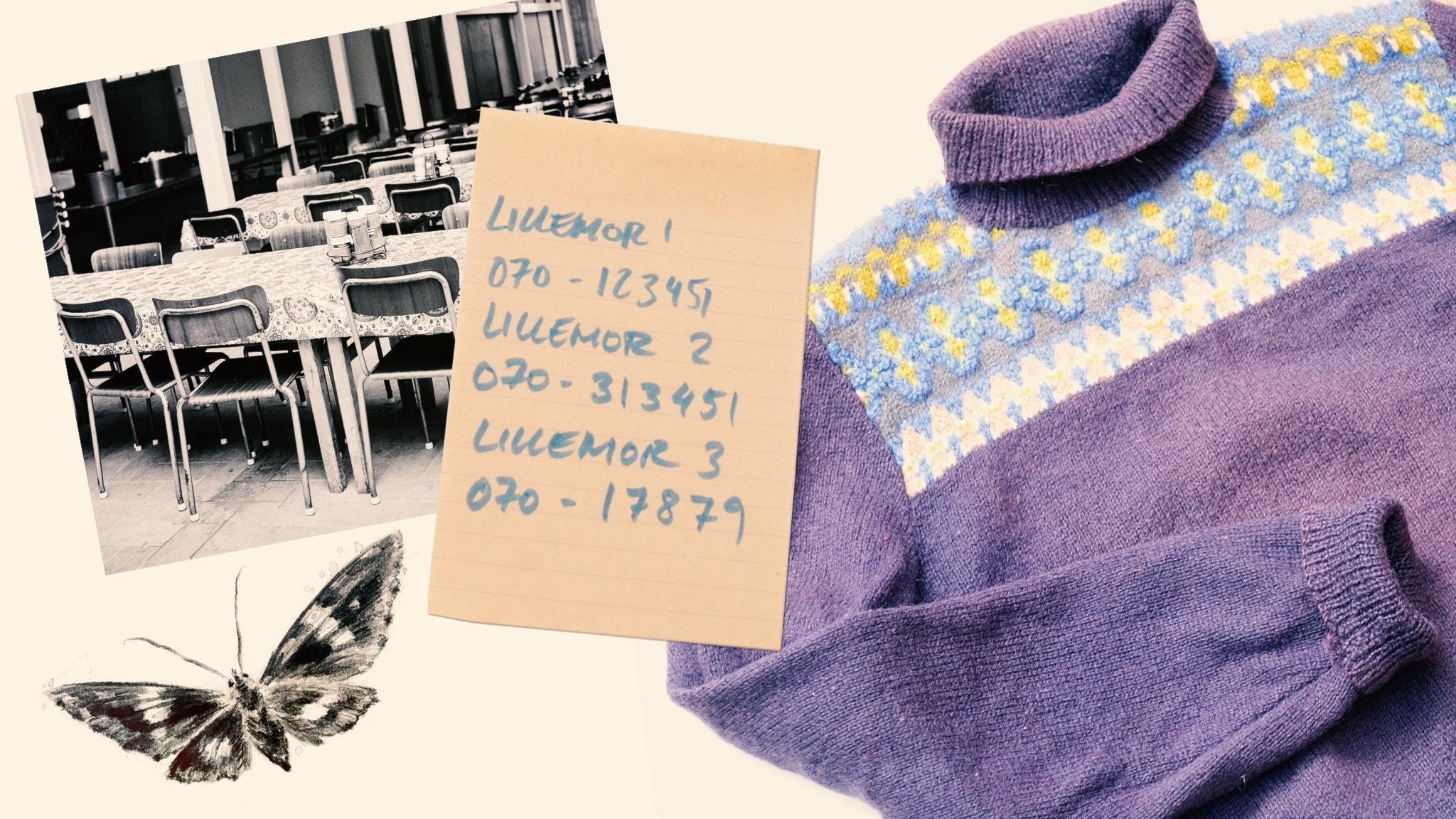 avsnitt 2 Collage sommalovsmuysteriet. En gammal tröja, en lapp med telefonnummer till Lillemor