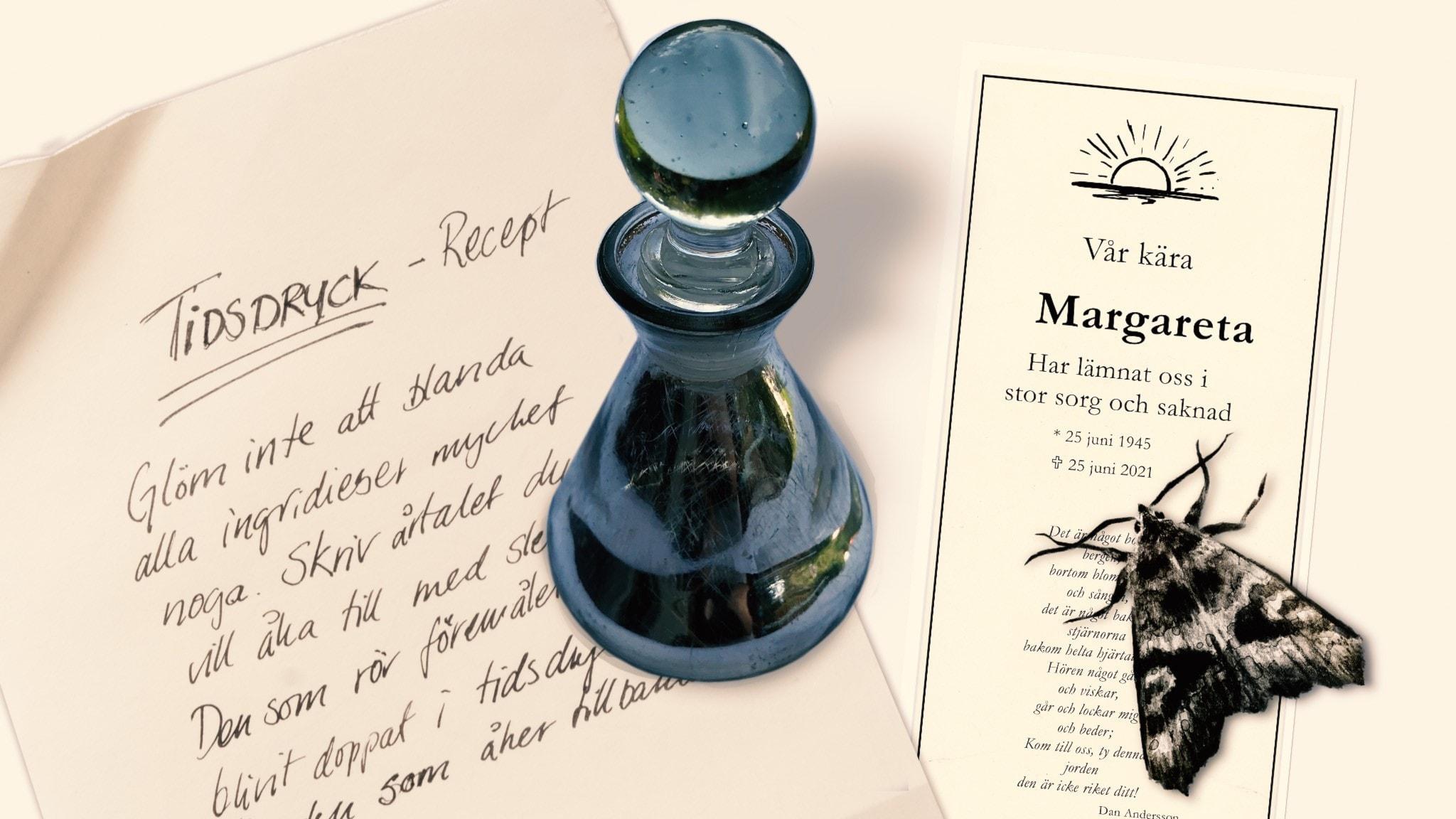 Del 8. En flaska med tidsdryck, ett recept på tidsdryck och en begravningsannons