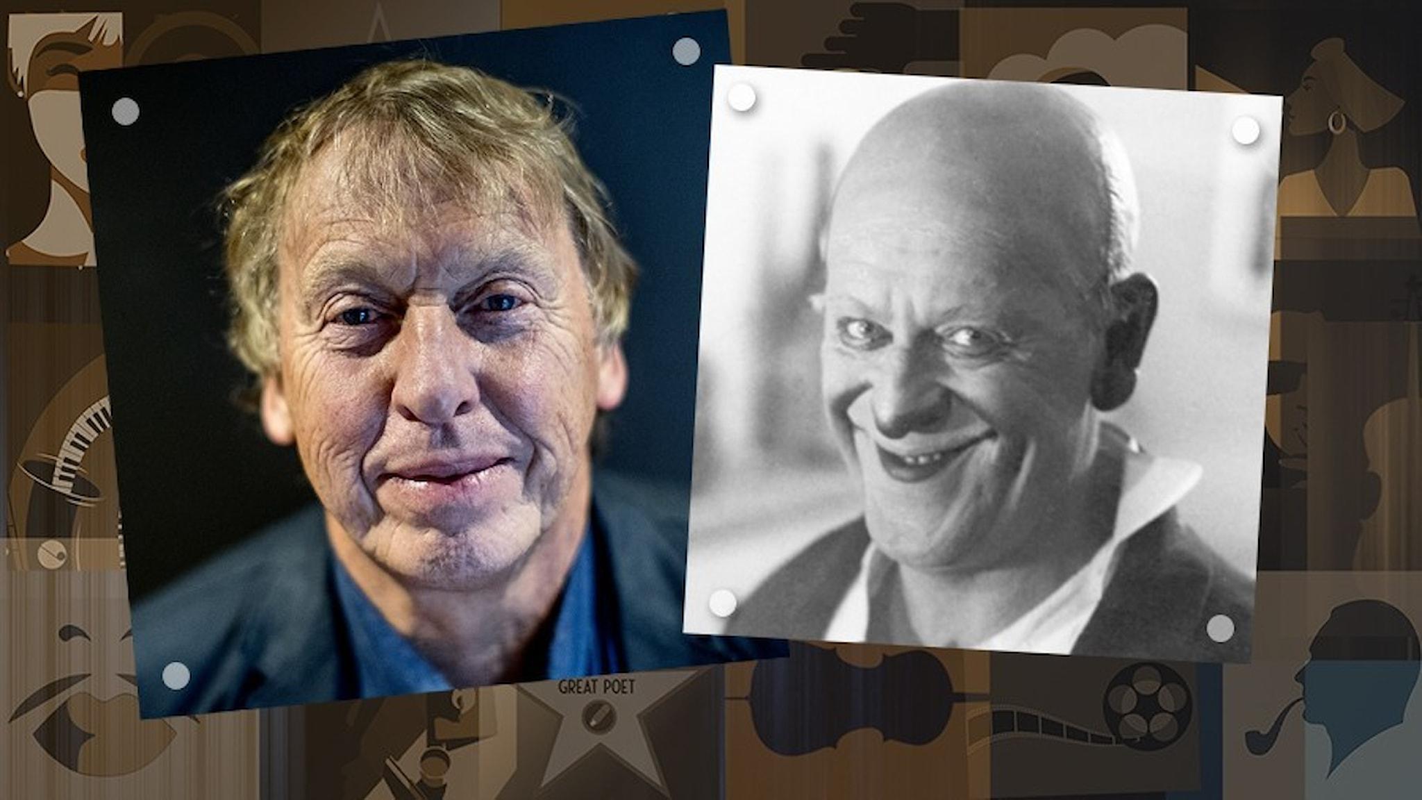 Porträtt av Tomas von Brömssen och clownen Grock framför en brunfond för Kulturlivet.