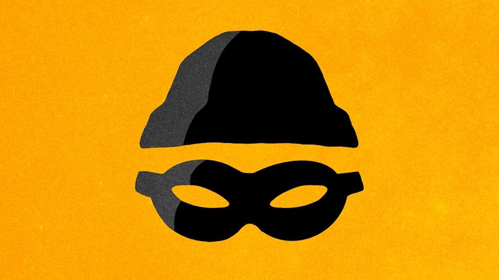 Programbild - Bovar och brott. Stiliserad svart tjuvmask och mössa mot en brandgul bakgrund. Illustration: Pablo Lind