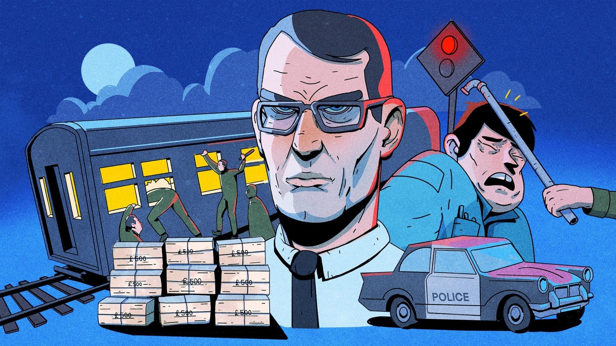 Det stora tågrånet - ett tåg har stannat för en trafiksignal och fem rånare är på väg in i tåget. Illustration: Pablo Lind