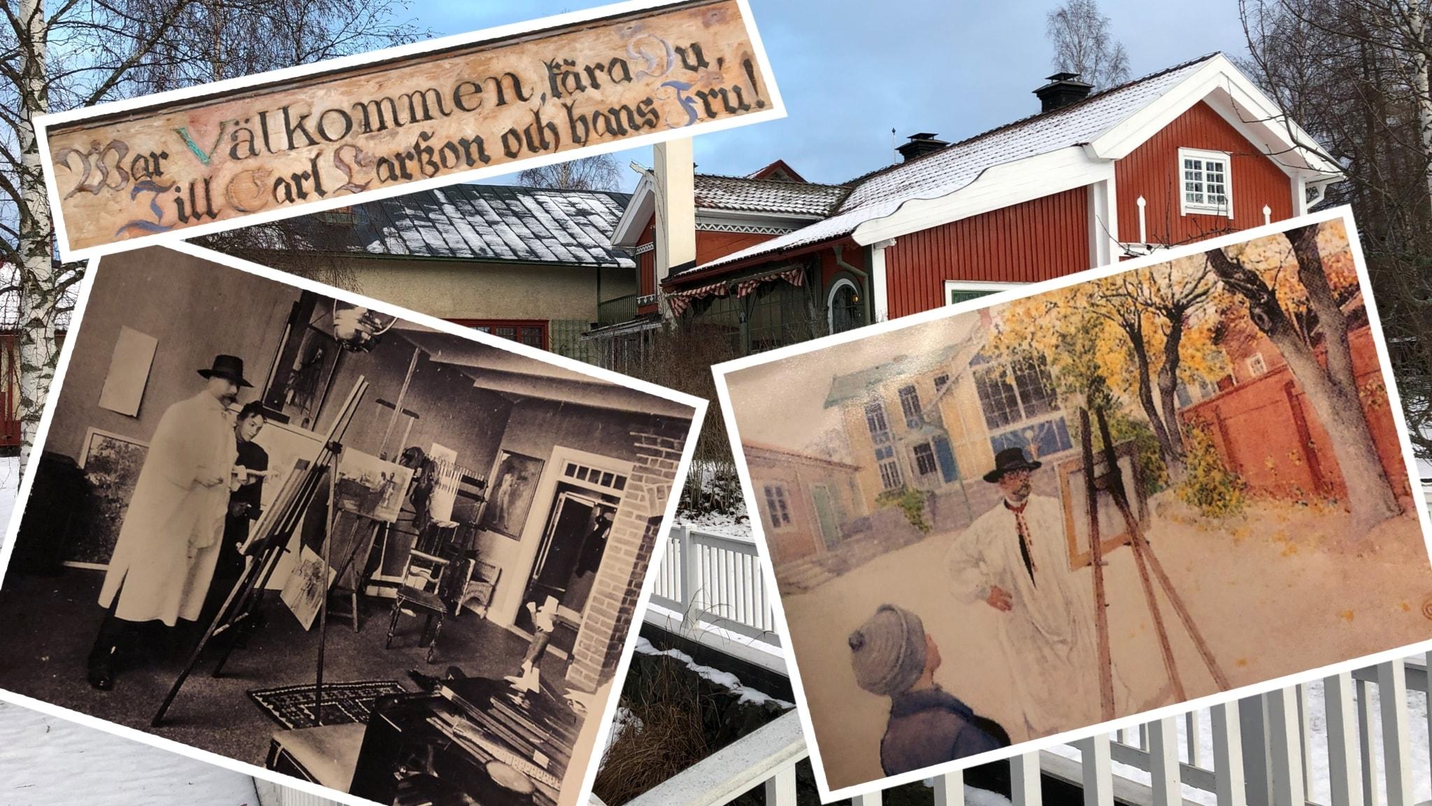 Kollage av bilder på och av konstnären Carl Larsson.