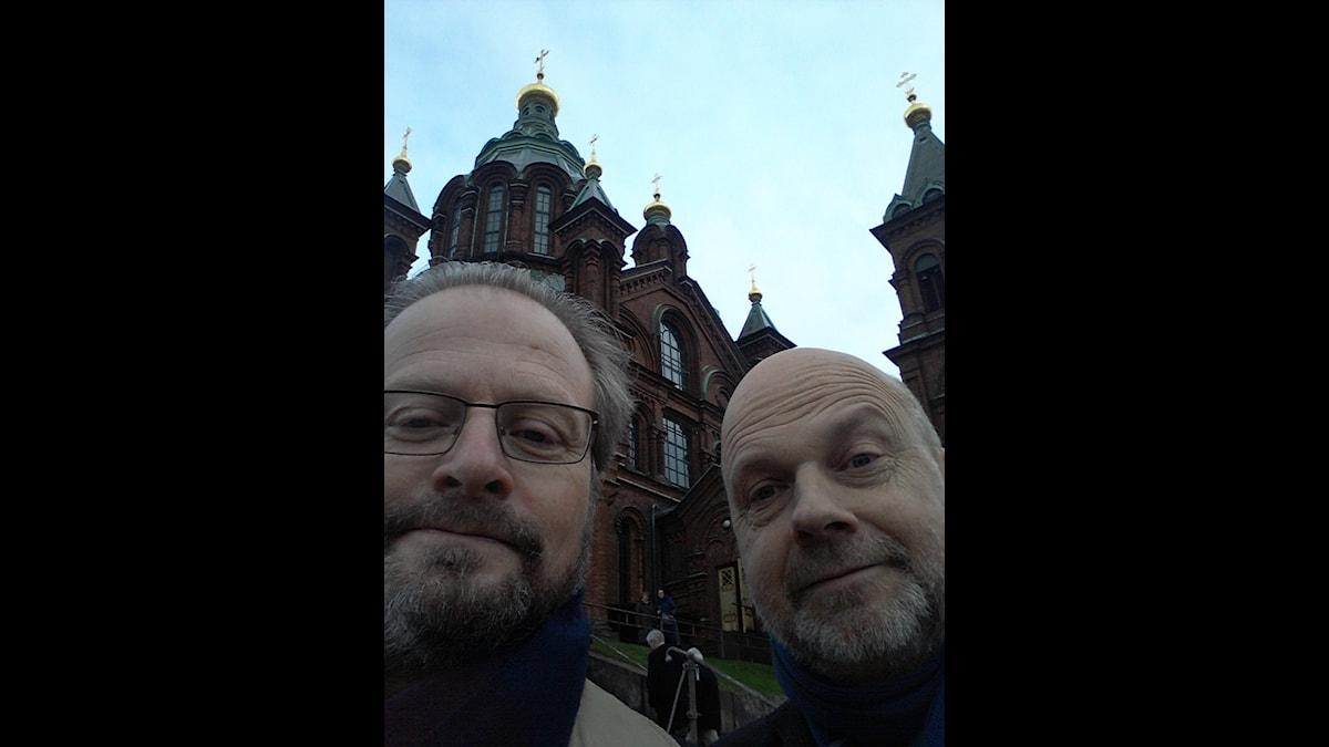 Nyårshälsarna framför Uspenskijkatedralen. Foto: Karsten Thurfjell/SR