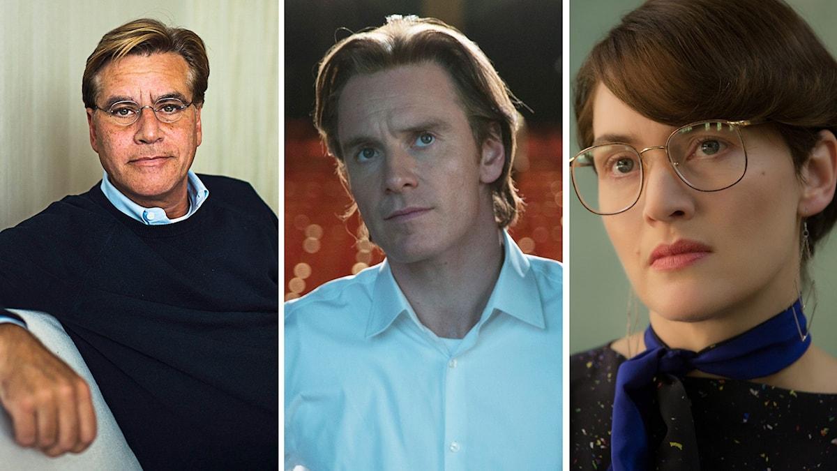 Aaron Sorkin, Michael Fassbender, Kate Winslet. Foto: Aaron Vincent Elkaim/Francois Duhamel via AP