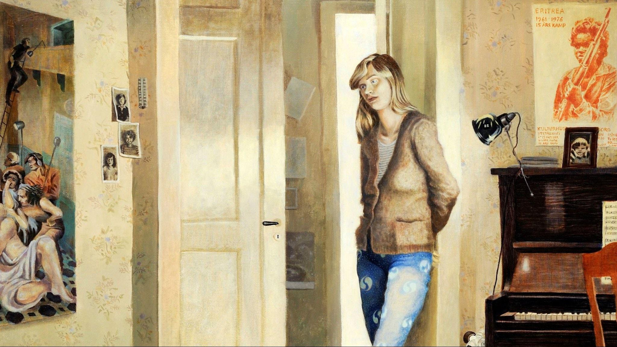 Utsnitt av målningen Självporträtt från 1978 av Gittan Jönsson. Foto: Patric Evinger