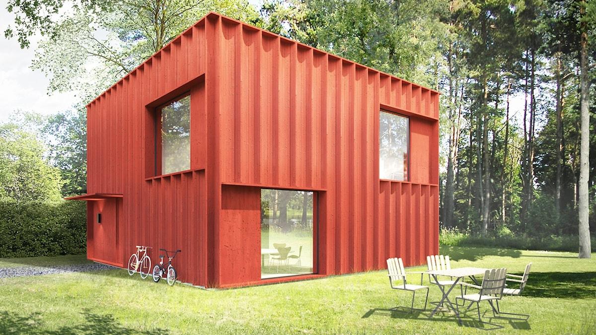 Hemnethemmet, ett hus ritat av Tham & Videgård Arkitekter baserat på vad svenskarna söker mest efter på Hemnet.