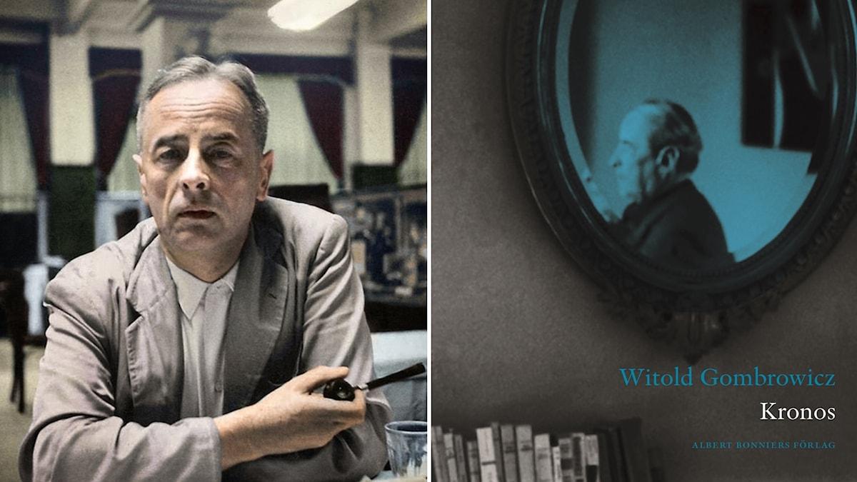"Witold Gombrowicz och omslaget till ""Kronos""."