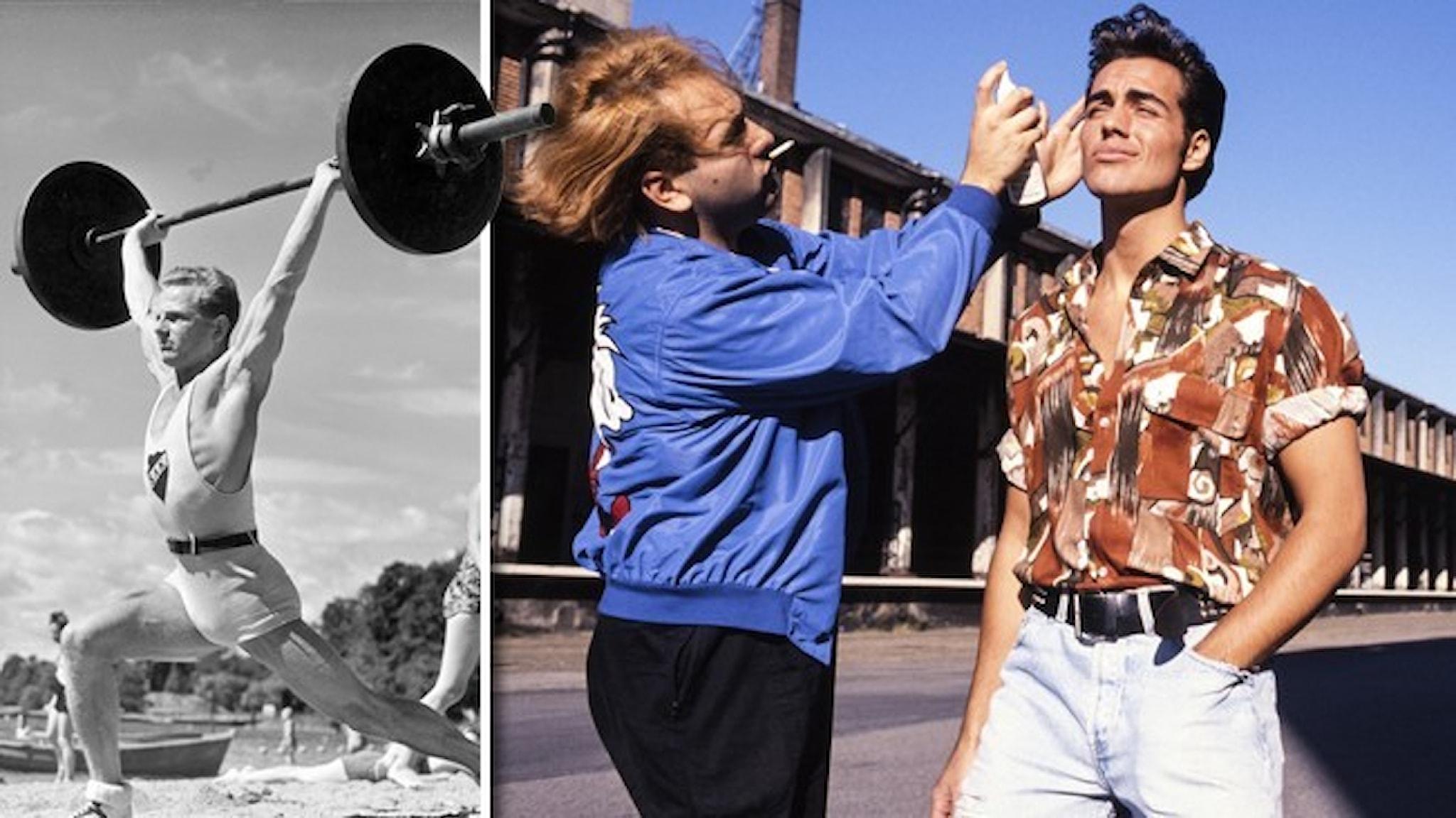En man som lyfter tyngdlyftning och en manlig fotomodell som får håret fixat av en assistent.