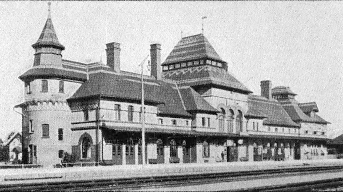 Järnvägsstationen Krylbo i Avesta omkring år 1910. Foto: Nordisk familjebok