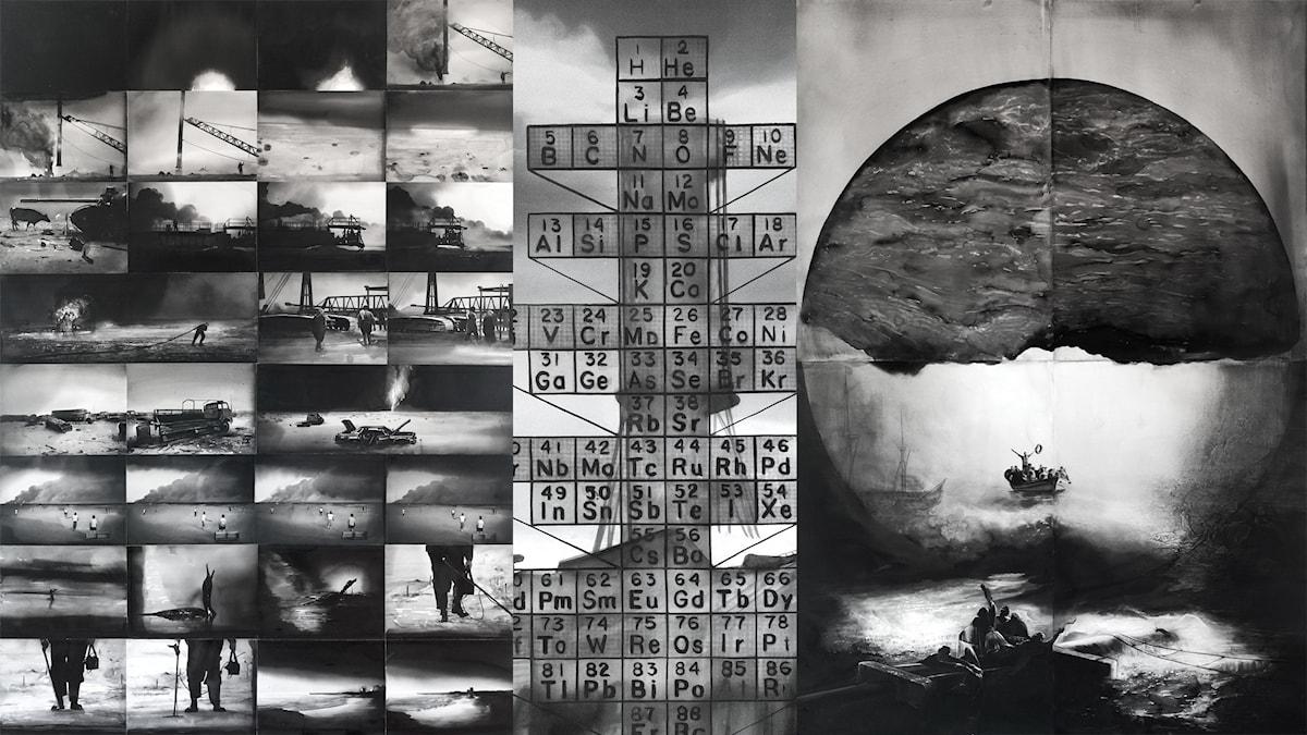 """Radenko Milak, """"Earth"""" (2017), """"Fire, Chernobyl"""" (beskuren, 2017) och """"Water"""" (2017) på Bosnien och Hercegovinas paviljong """"University of Disaster""""."""