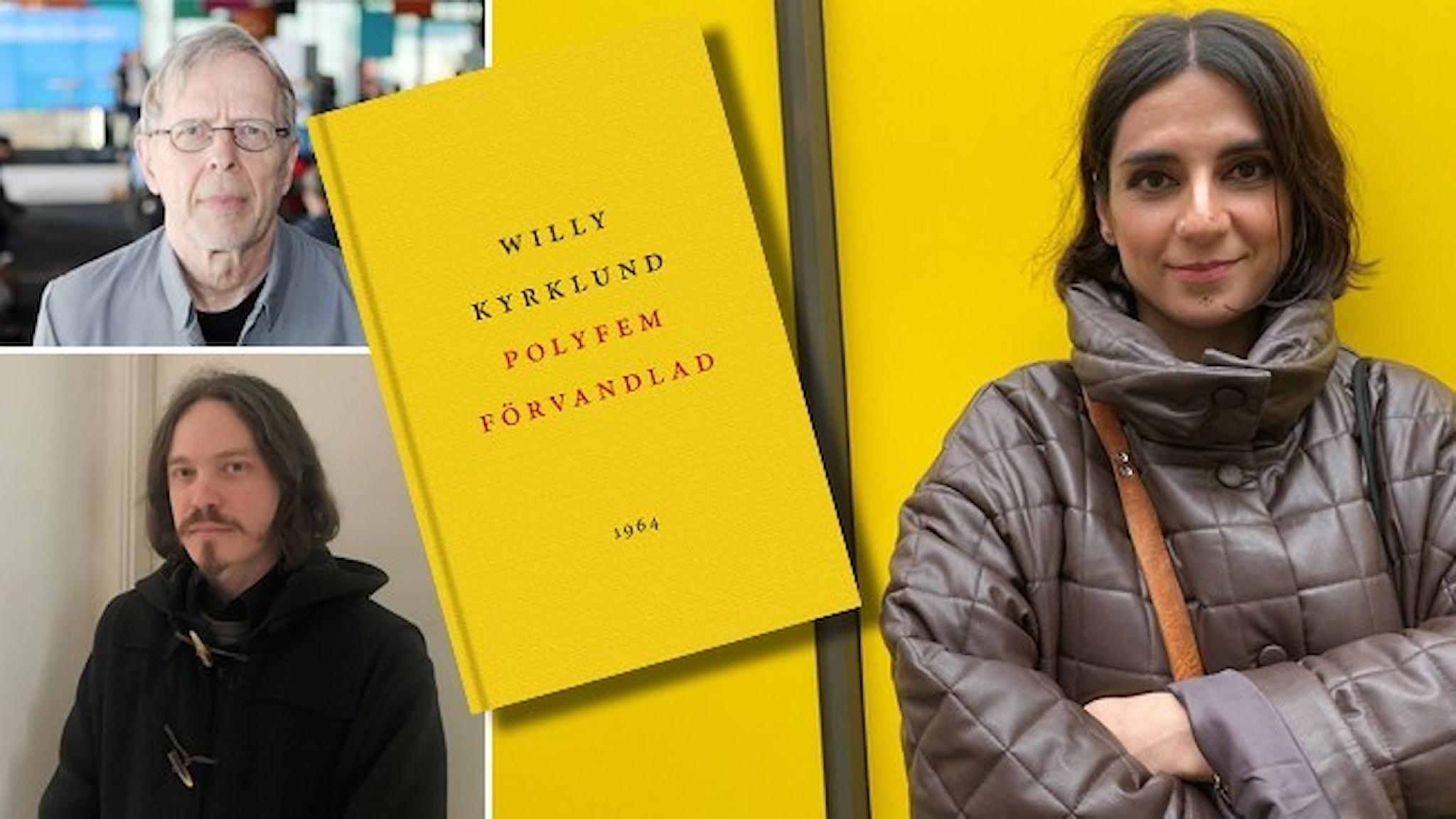 """Porträtt av Göran Sommardal, Thomas Sjösvärd och Balsam Karam. Infällt i bilden är omslaget till Willy Kyrklunds bok """"Polyfem förvandlad""""."""