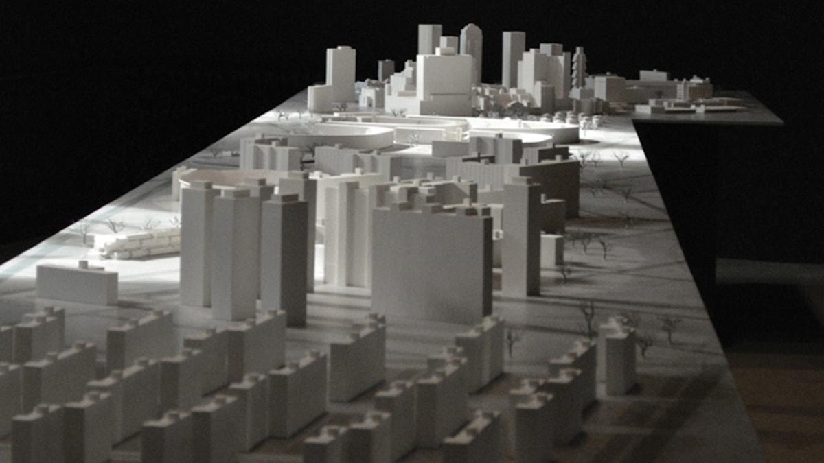 """""""New City"""" av Dušica Dražić på utställningen """"Next Utopia"""". Foto: Norrköpings konstmuseum"""