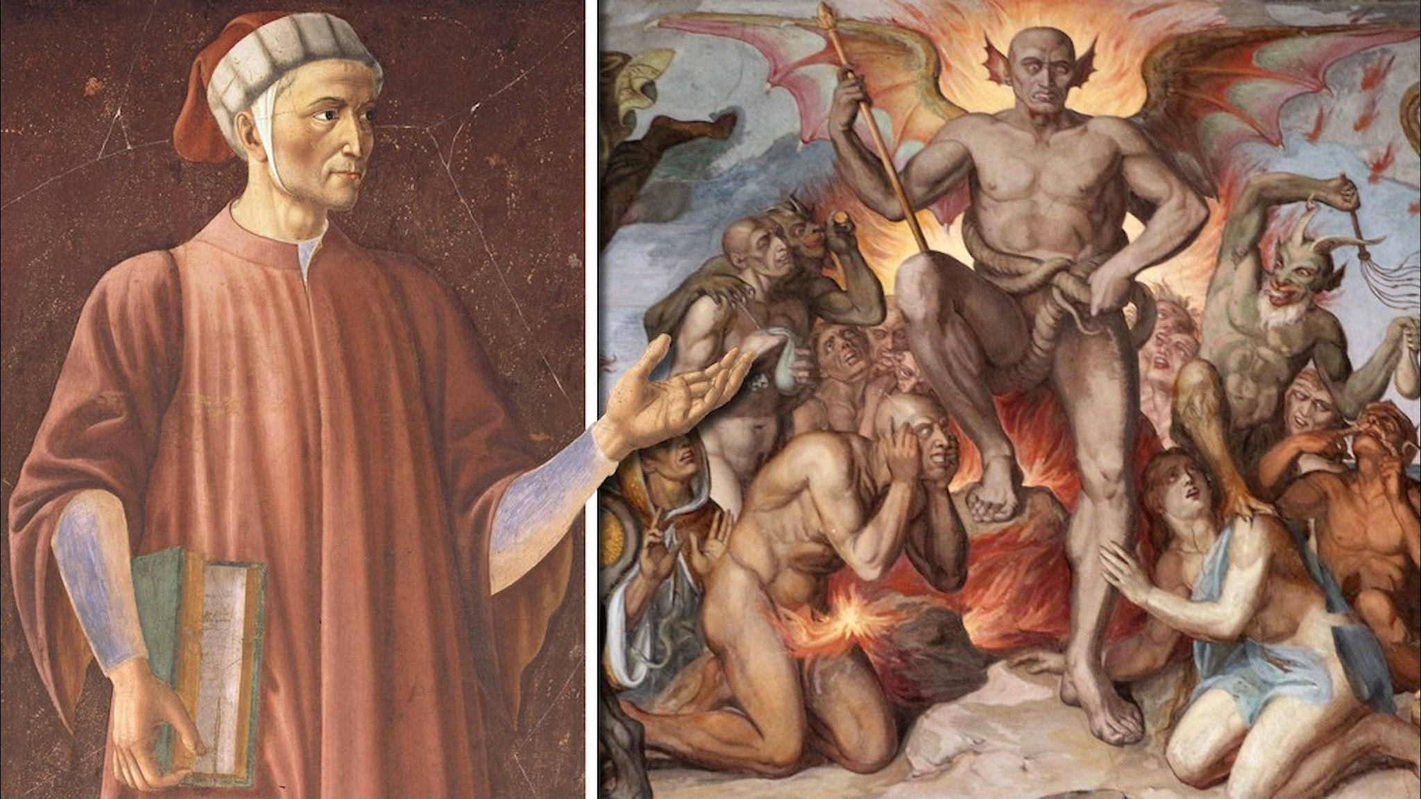 Målningar av Dante och helvetet.