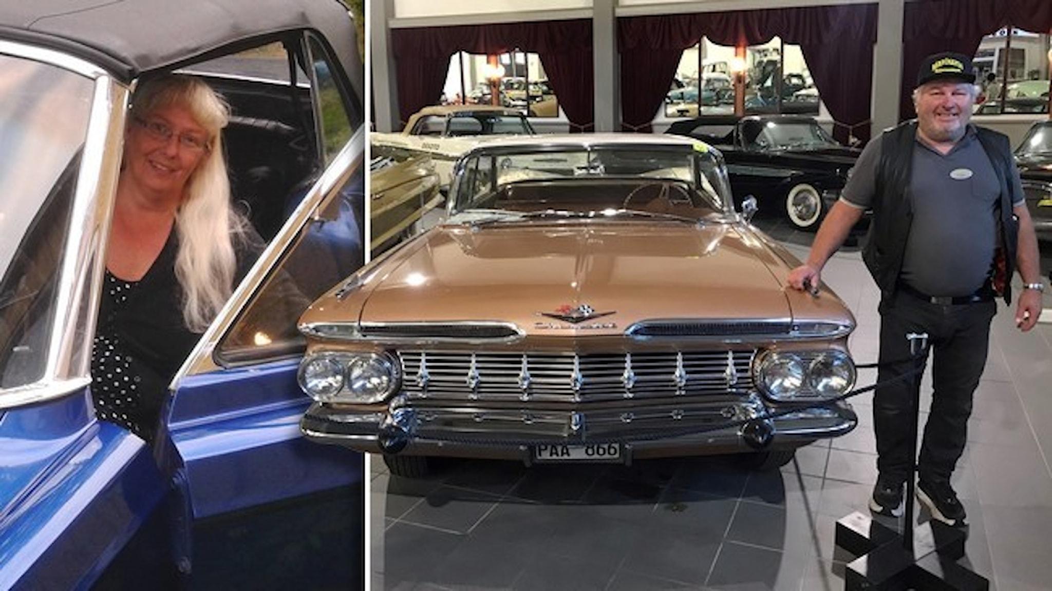 En kvinna tittar ut från förarsätet på en blå bil och en man lutar sig mot en brun Chevrolet.