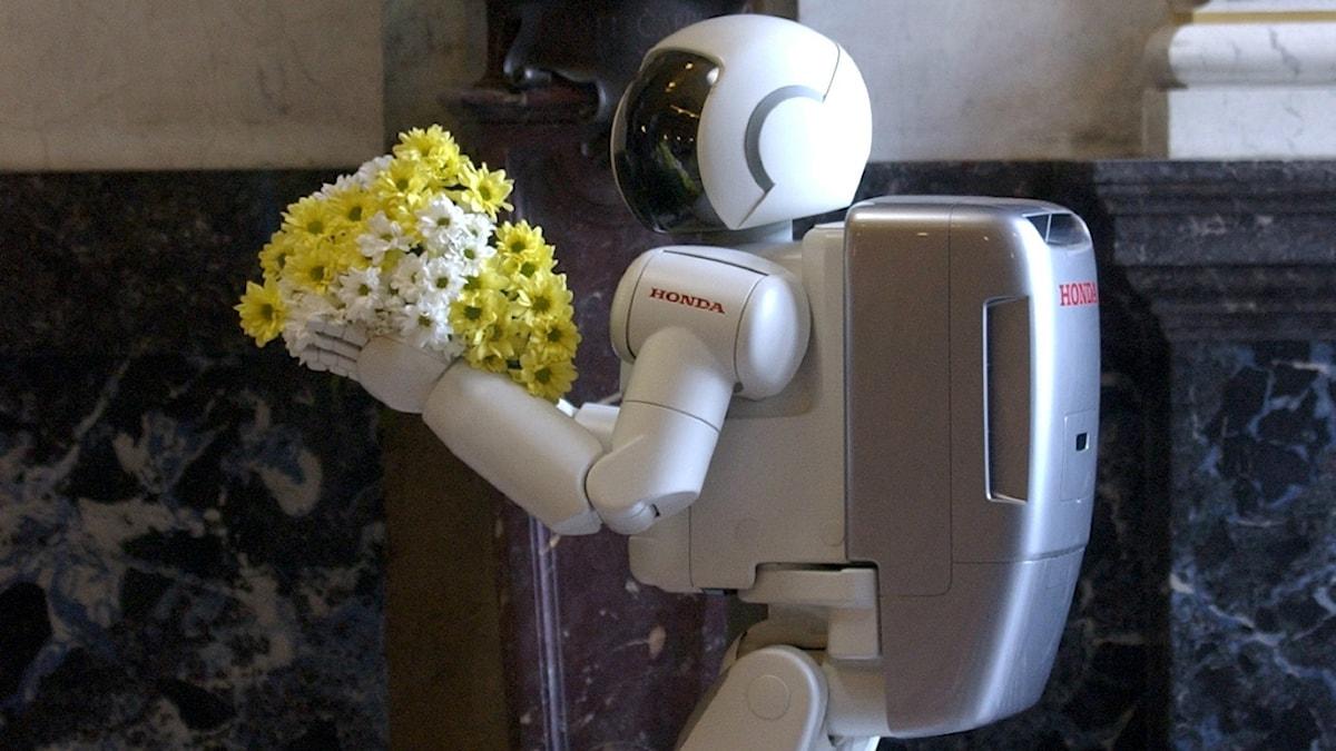 En japansk robot som togs med på den japanske premiärministerns statsbesök i Prag 2003 - för att ge blommor till statyn av författaren Karel Capek.