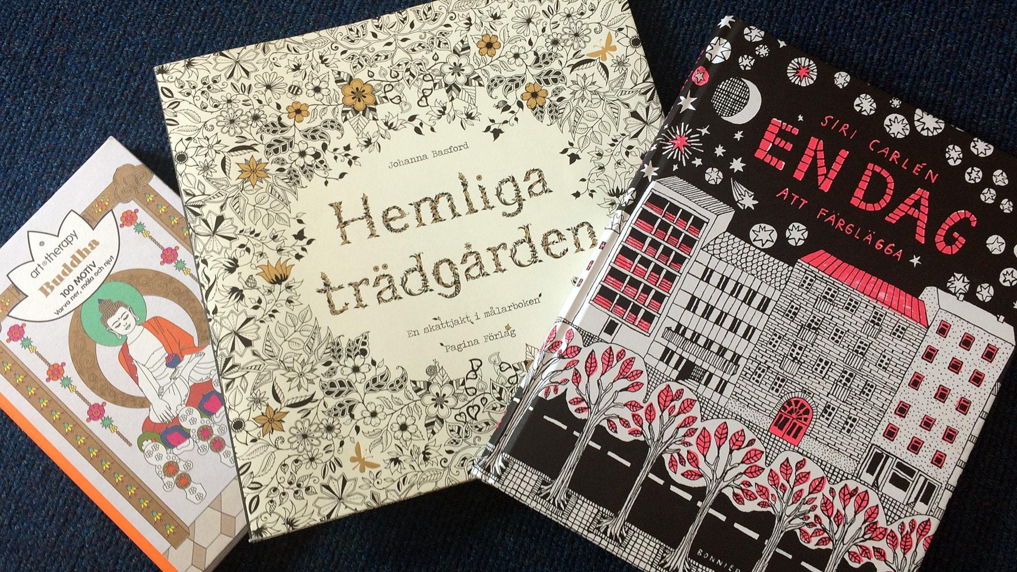 Några aktuella exempel på målarböcker för vuxna. Foto: SR