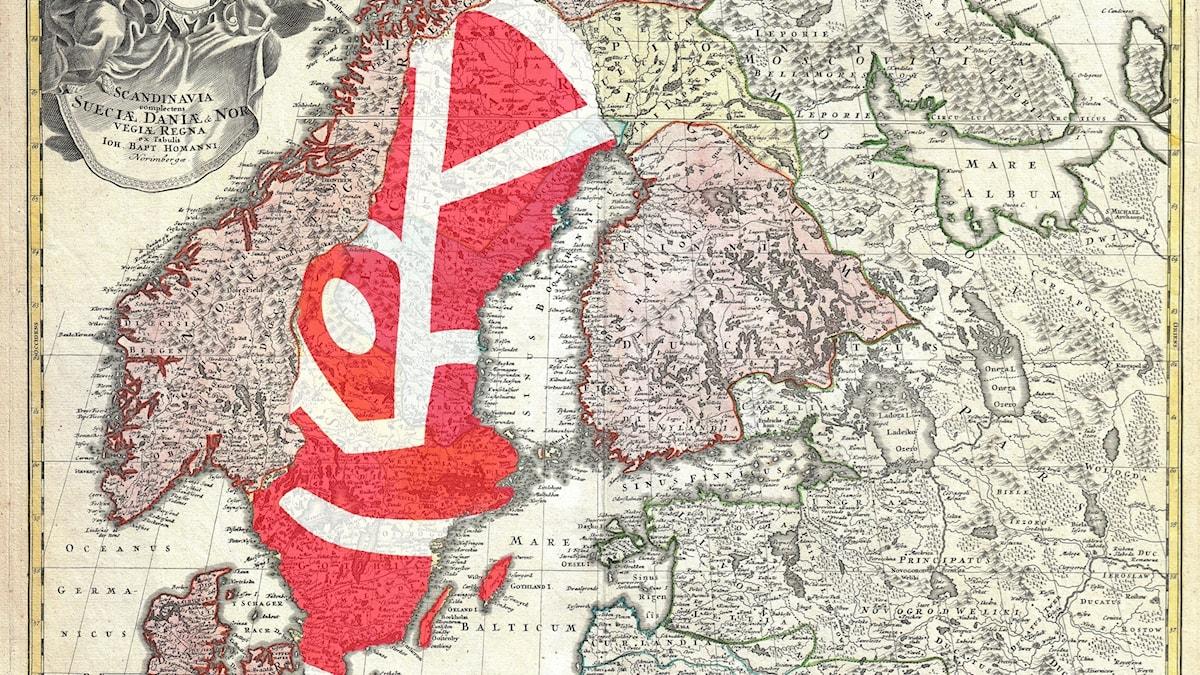 Socialdemokraternas logga inklippt över en svensk karta.