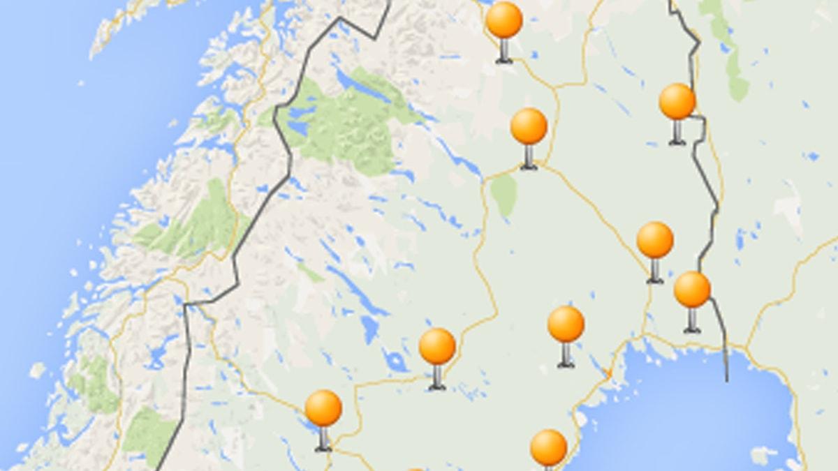 Utsnitt av Sverigekarta med sändningsmaster utmärkta.