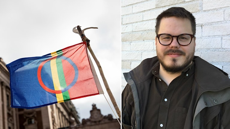 Samiska flaggan och Tobias Poggats. Foto: Christine Olsson/TT och David Rydenfalk, Sameradion & SVT Sápmi.
