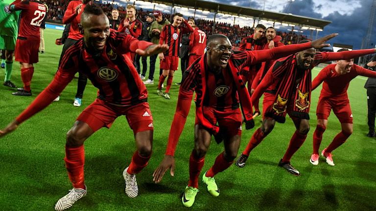 Spelare i Östersunds Fotbollsklubb på fotbollsarena