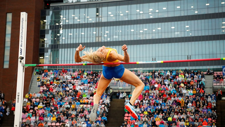 TAMMERFORS 20180901 Erika Kinsey i damernas höjdhopp under Finnkampen på Ratina Stadion i Tammerfors på lördagen. Foto: Christine Olsson / TT
