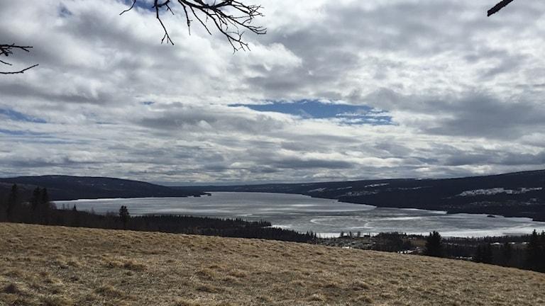 En vy över en åker och en sjö en molnig dag.