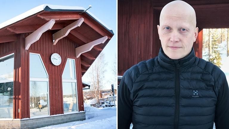 Busstationen i Svenstavik och fastighetschefen Mattias Persson.