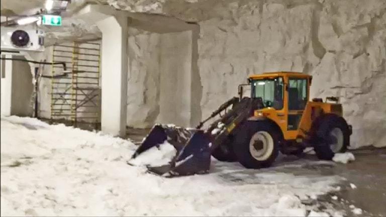 Skidtunneln i Gällö, traktor kör snö