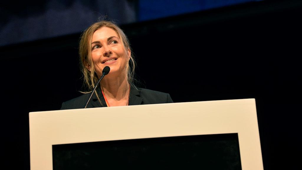 Karin Mattson Weijber håller tal på Riksidrottsmötet i Helsinborg den 29 maj 2015. Foto: Daniel Kihlström/TT