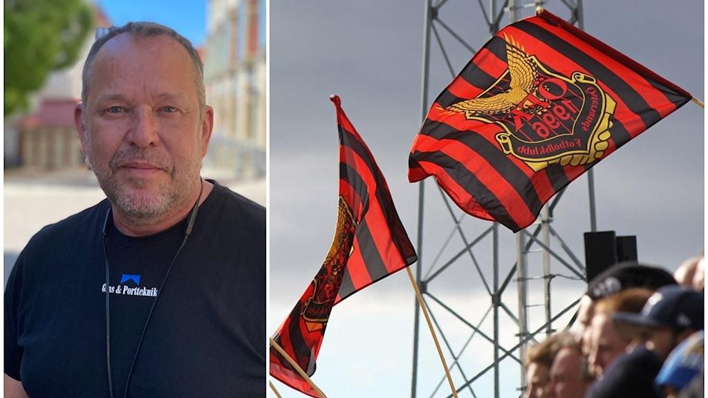 Ett kollage på en man och en bild på publik och flaggor.