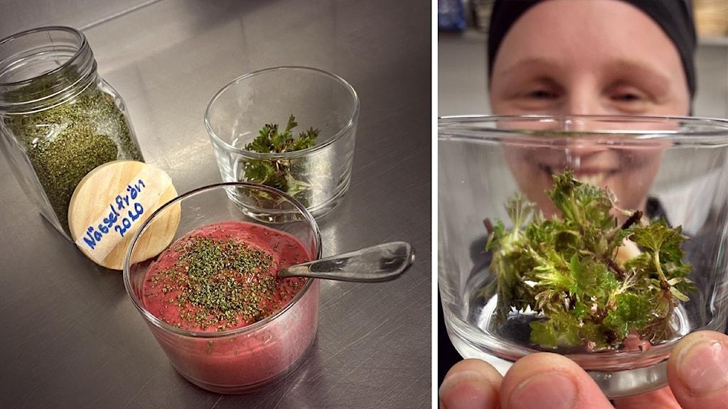 Olika produkter gjorda på nässlor, och en kock som håller upp en glasburk framför sig.