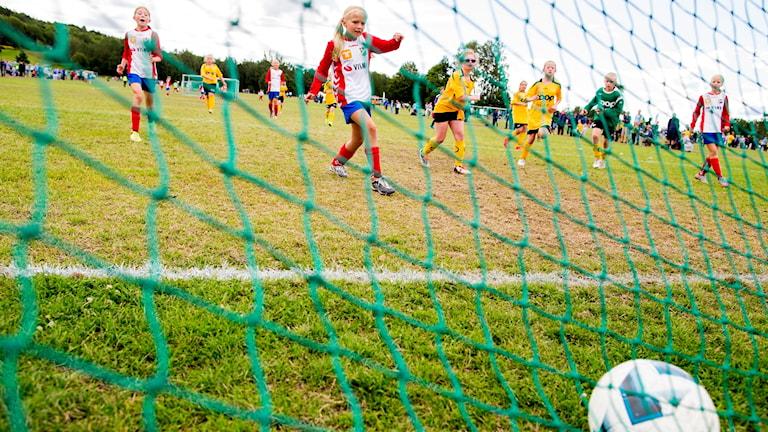 Flera barn springer på en fotbollsplan