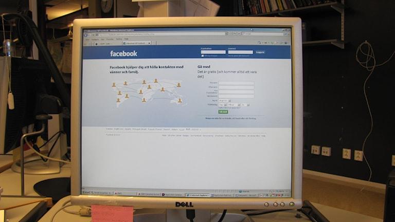 Facebooks startsida. Foto: Annelie Lanner/SR