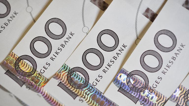 Svenska sedlar, tusenlappar. Foto: Jessica Gow / SCANPIX