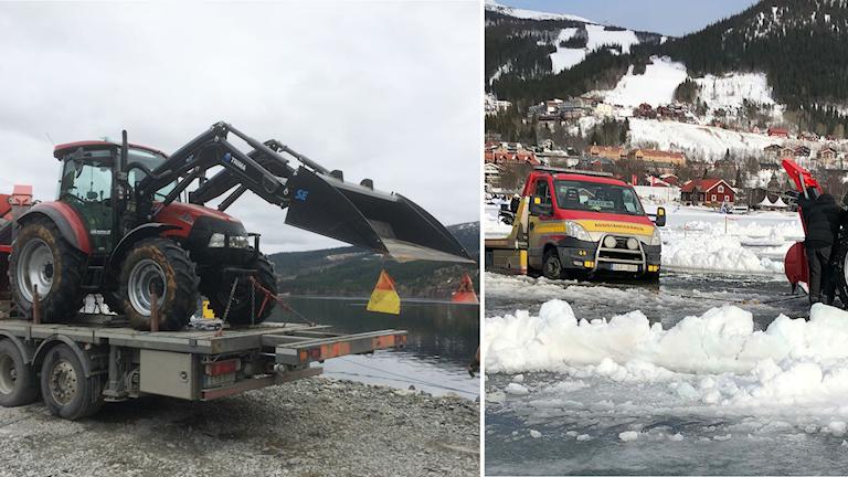 Traktor och bärgningsbil som gått genom isen.