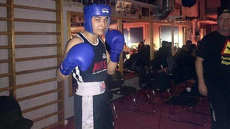 Abdulbasir Yakobi, boxare från BK Ängeln, Östersund, vid tävlingar i Örebro. 161210. Foto: Privat (BK Ängeln)