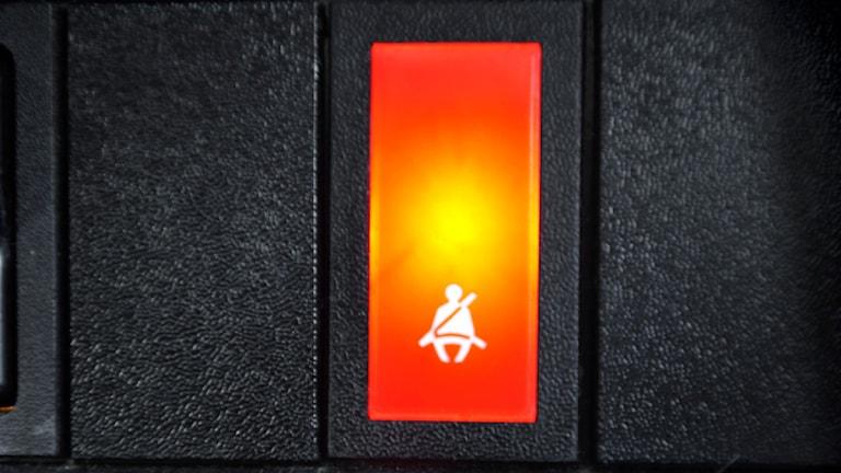 Symbol för säkerhetsbälte i bil. Foto: Tomas Oneborg / SvD / SCANPIX